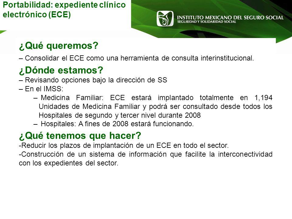 Portabilidad: expediente clínico electrónico (ECE) ¿Qué queremos? – Consolidar el ECE como una herramienta de consulta interinstitucional. ¿Dónde esta