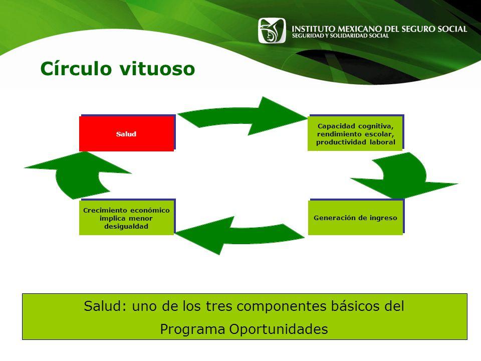 Salud: uno de los tres componentes básicos del Programa Oportunidades Capacidad cognitiva, rendimiento escolar, productividad laboral Generación de in