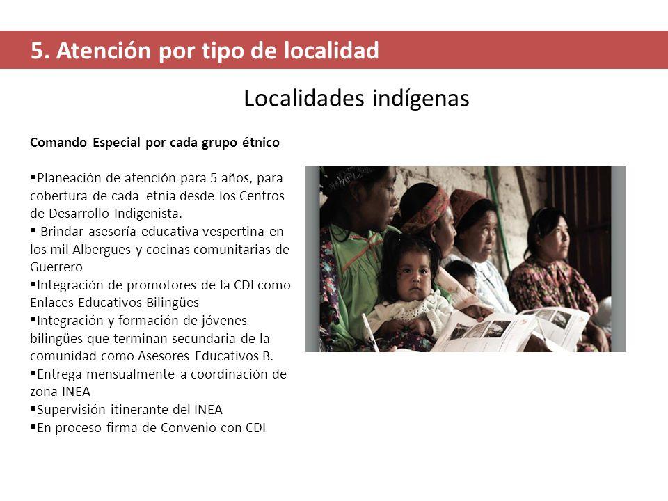 Localidades indígenas 5. Atención por tipo de localidad Comando Especial por cada grupo étnico Planeación de atención para 5 años, para cobertura de c