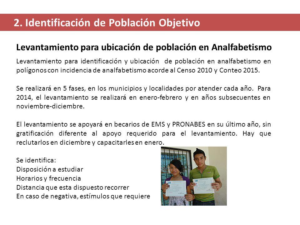 Levantamiento para identificación y ubicación de población en analfabetismo en polígonos con incidencia de analfabetismo acorde al Censo 2010 y Conteo