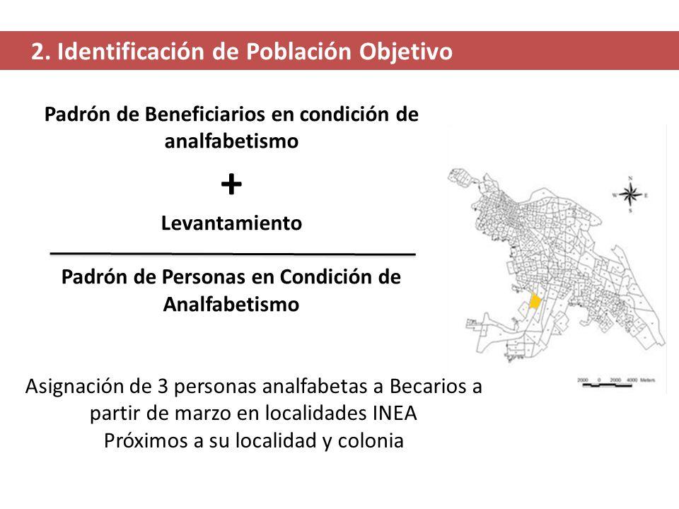 2. Identificación de Población Objetivo Padrón de Beneficiarios en condición de analfabetismo + Levantamiento Padrón de Personas en Condición de Analf