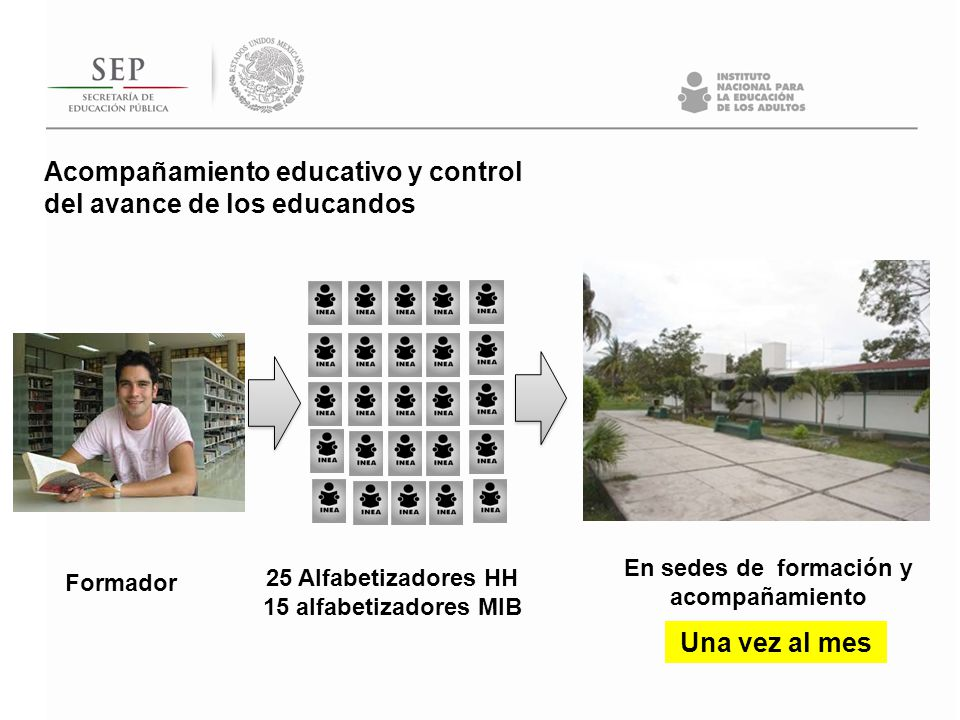 Formador 25 Alfabetizadores HH 15 alfabetizadores MIB En sedes de formación y acompañamiento Acompañamiento educativo y control del avance de los educ