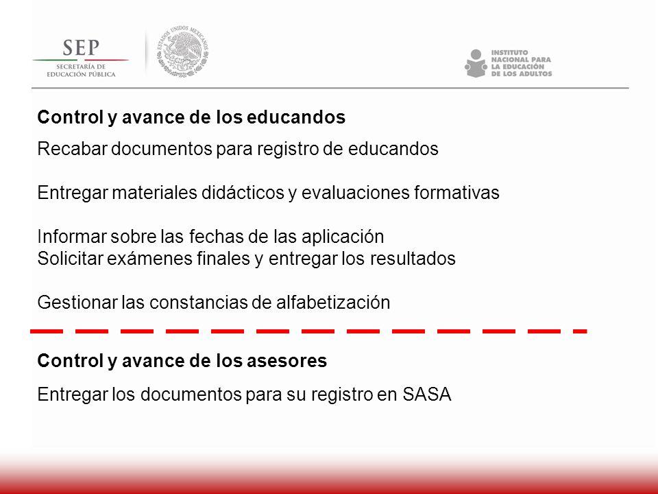 Control y avance de los educandos Recabar documentos para registro de educandos Entregar materiales didácticos y evaluaciones formativas Informar sobr
