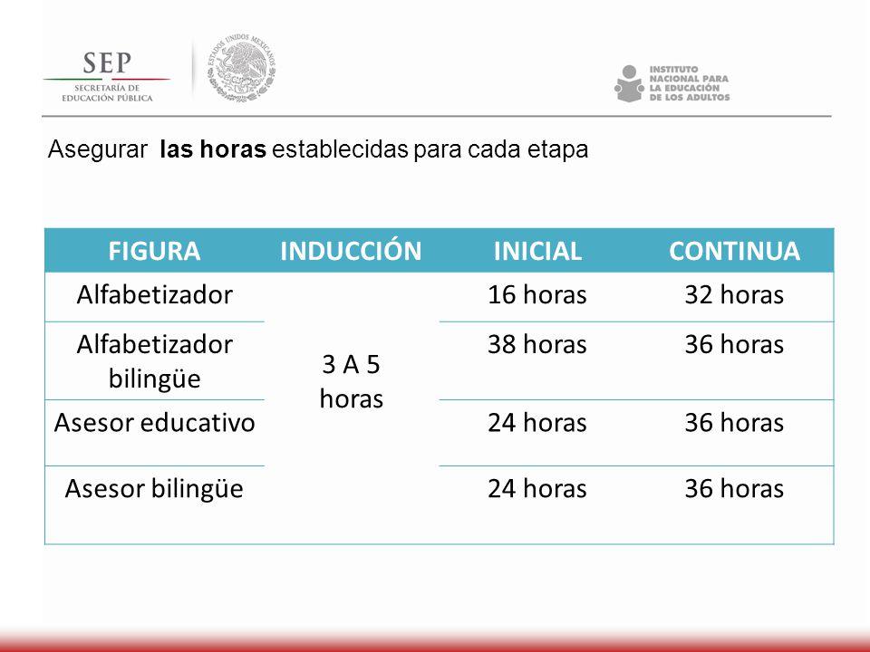 Formador 25 Alfabetizadores HH 15 alfabetizadores MIB En sedes de formación y acompañamiento Acompañamiento educativo y control del avance de los educandos Una vez al mes
