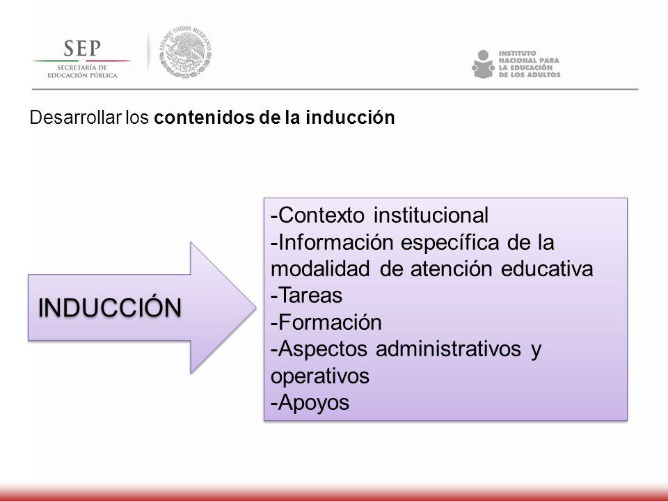 Desarrollar los contenidos de la inducción INDUCCIÓN -Contexto institucional -Información específica de la modalidad de atención educativa -Tareas -Fo