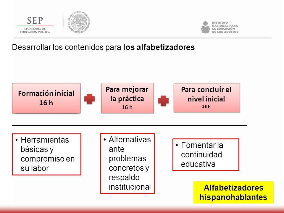 Desarrollar los contenidos para los alfabetizadores Formación inicial 16 h Formación inicial 16 h Para mejorar la práctica 16 h Para mejorar la prácti