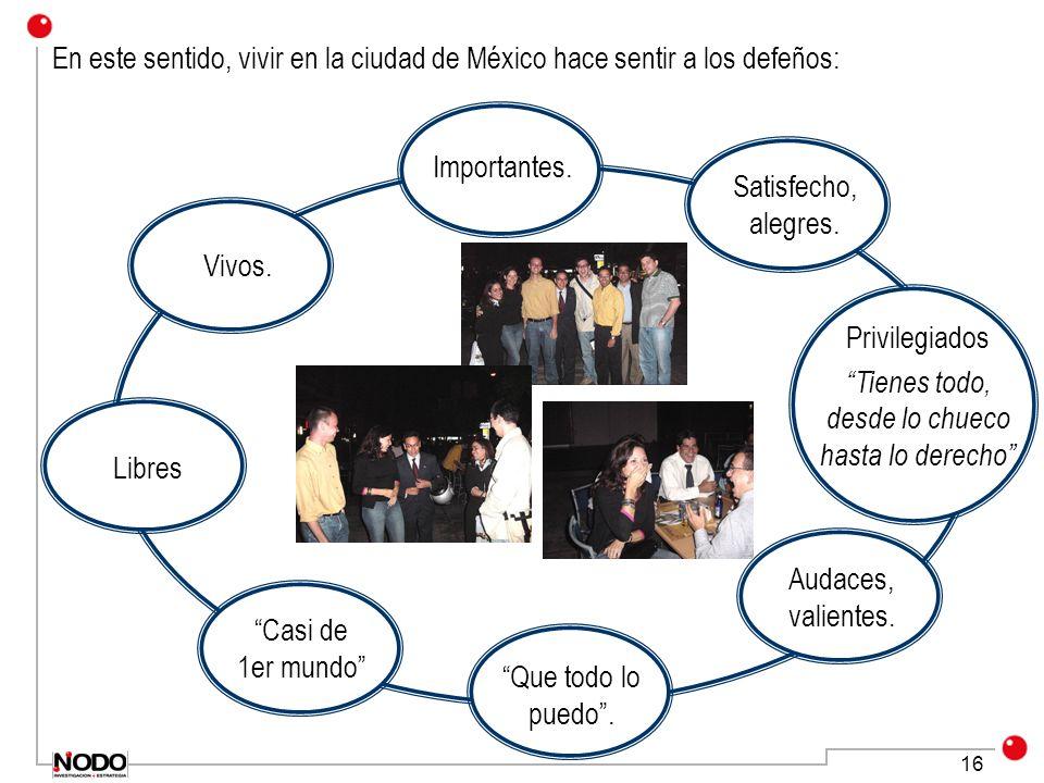 16 En este sentido, vivir en la ciudad de México hace sentir a los defeños: Privilegiados Tienes todo, desde lo chueco hasta lo derecho Audaces, valie