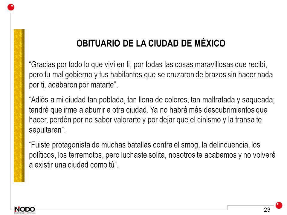 23 OBITUARIO DE LA CIUDAD DE MÉXICO Gracias por todo lo que viví en ti, por todas las cosas maravillosas que recibí, pero tu mal gobierno y tus habita