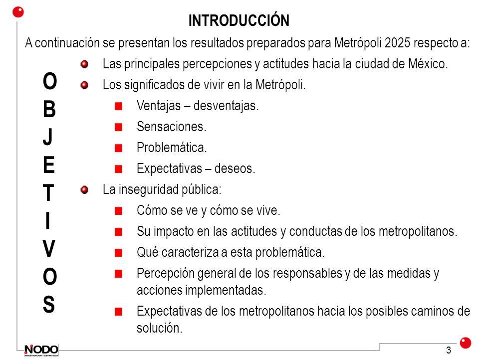 3 INTRODUCCIÓN A continuación se presentan los resultados preparados para Metrópoli 2025 respecto a: Las principales percepciones y actitudes hacia la