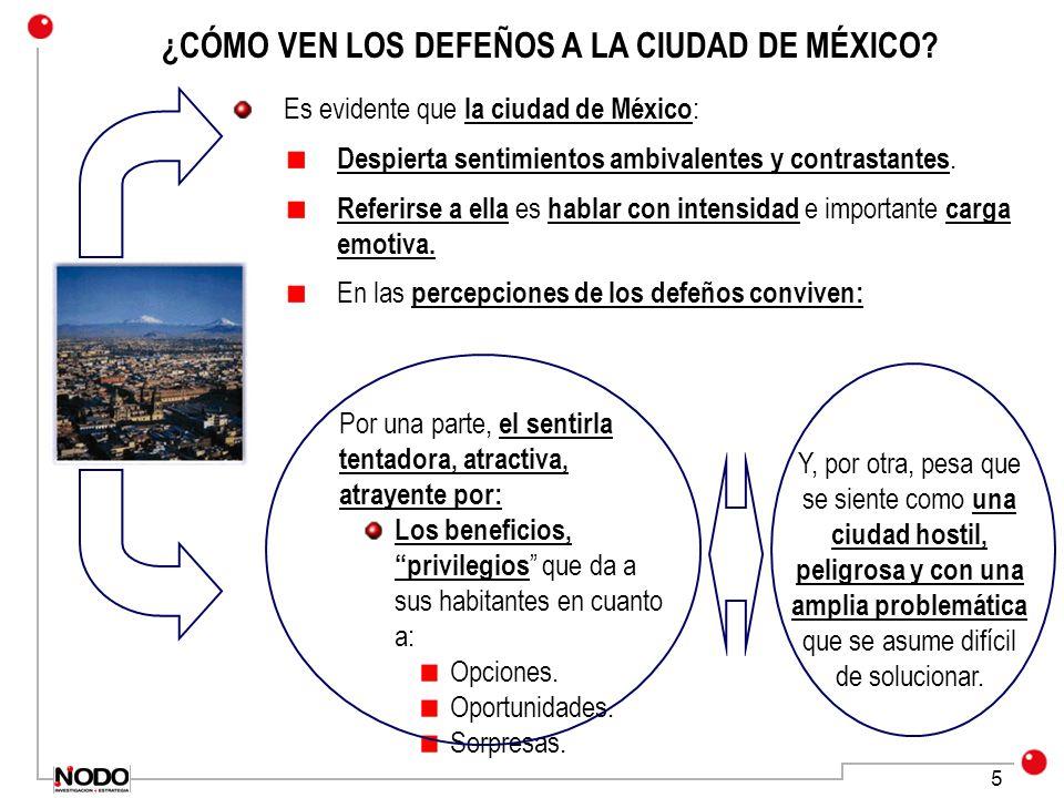 5 ¿CÓMO VEN LOS DEFEÑOS A LA CIUDAD DE MÉXICO? Es evidente que la ciudad de México : Despierta sentimientos ambivalentes y contrastantes. Referirse a