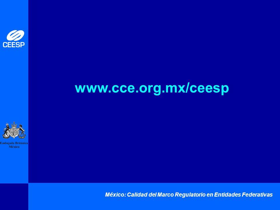 México: Calidad del Marco Regulatorio en Entidades Federativas www.cce.org.mx/ceesp