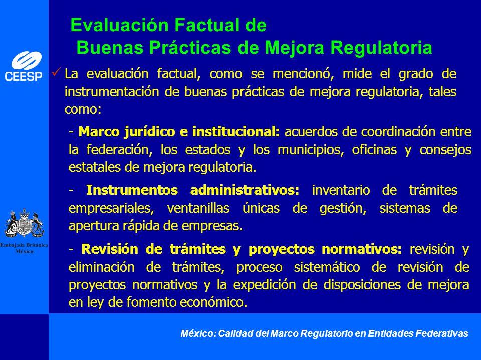 México: Calidad del Marco Regulatorio en Entidades Federativas - Marco jurídico e institucional: acuerdos de coordinación entre la federación, los est