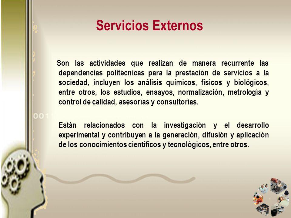 Servicios Externos Son las actividades que realizan de manera recurrente las dependencias politécnicas para la prestación de servicios a la sociedad,