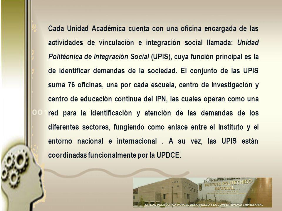Cada Unidad Académica cuenta con una oficina encargada de las actividades de vinculación e integración social llamada: Unidad Politécnica de Integraci