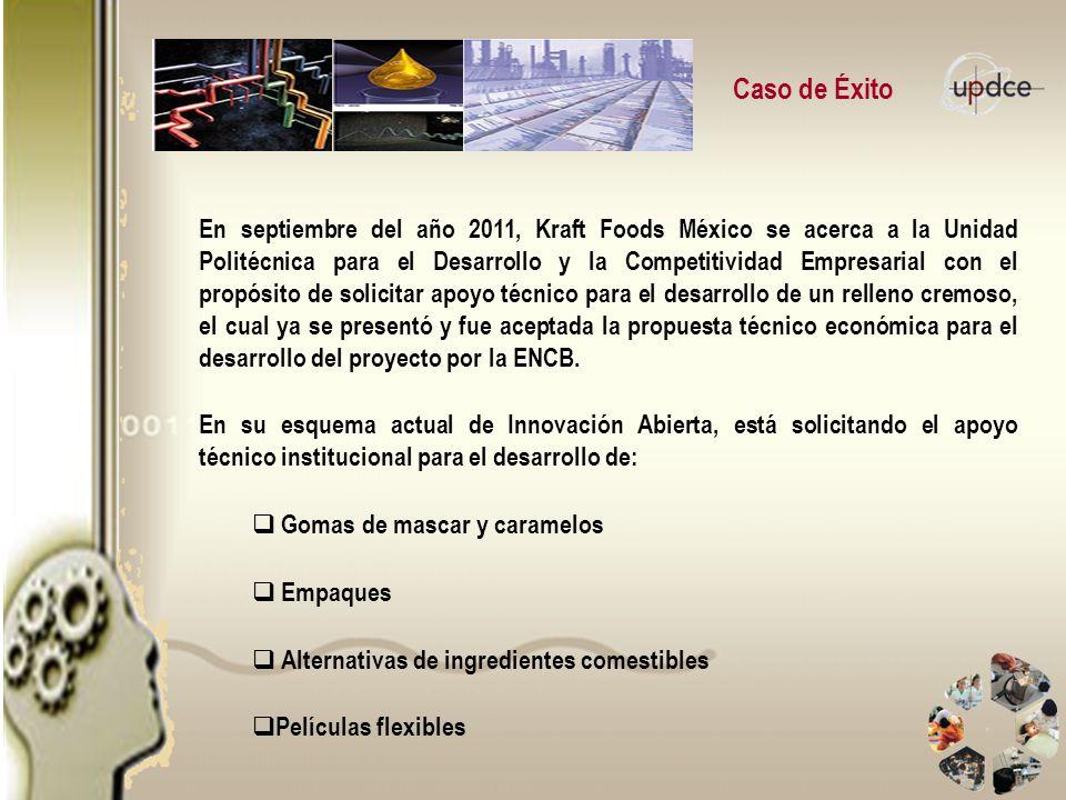 Caso de Éxito En septiembre del año 2011, Kraft Foods México se acerca a la Unidad Politécnica para el Desarrollo y la Competitividad Empresarial con
