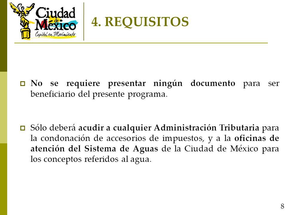 8 No se requiere presentar ningún documento para ser beneficiario del presente programa.