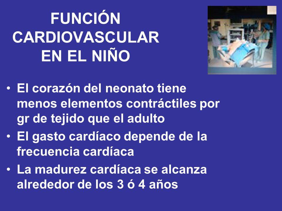FUNCIÓN CARDIOVASCULAR EN EL NIÑO El corazón del neonato tiene menos elementos contráctiles por gr de tejido que el adulto El gasto cardíaco depende d