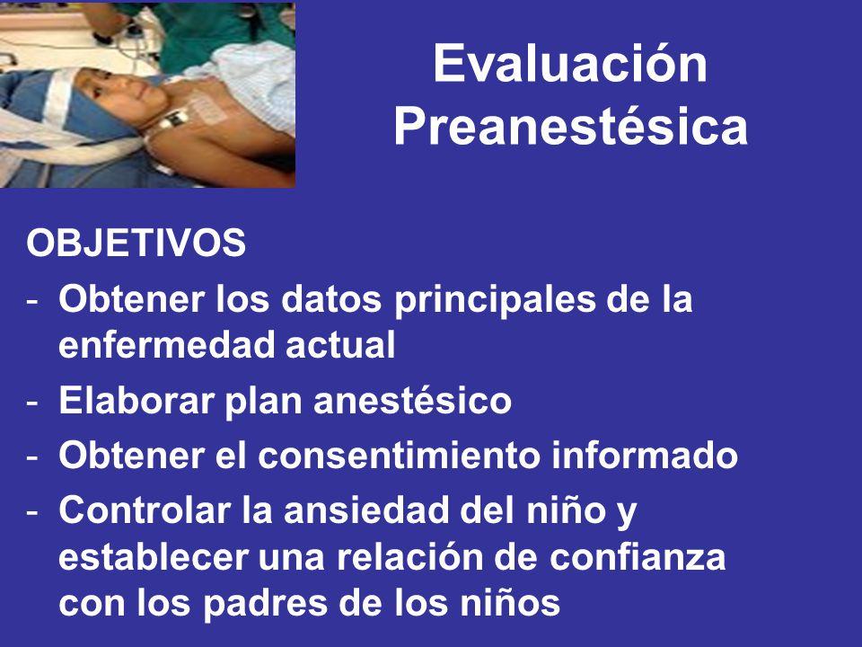 Evaluación Preanestésica OBJETIVOS -Obtener los datos principales de la enfermedad actual -Elaborar plan anestésico -Obtener el consentimiento informa