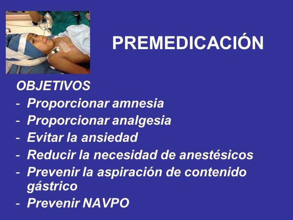 PREMEDICACIÓN OBJETIVOS -Proporcionar amnesia -Proporcionar analgesia -Evitar la ansiedad -Reducir la necesidad de anestésicos -Prevenir la aspiración
