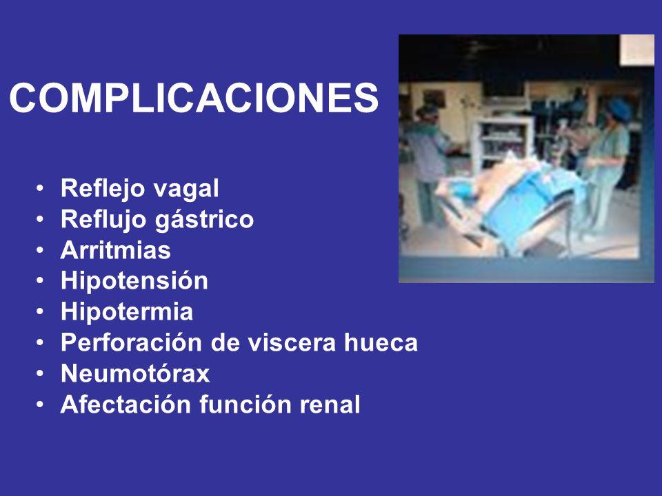 COMPLICACIONES Reflejo vagal Reflujo gástrico Arritmias Hipotensión Hipotermia Perforación de viscera hueca Neumotórax Afectación función renal