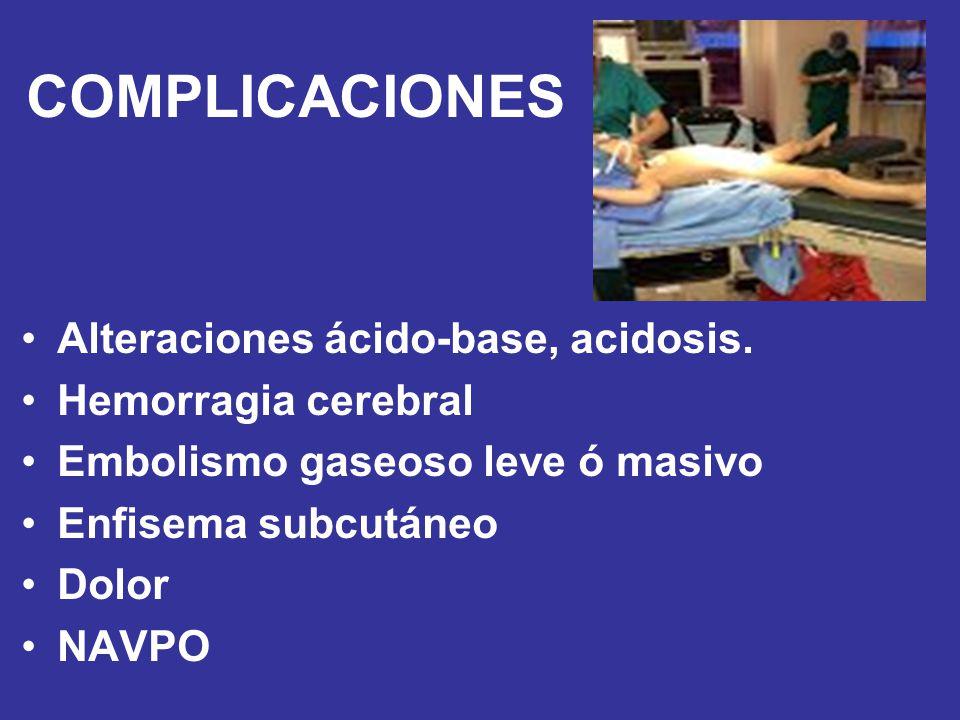 COMPLICACIONES Alteraciones ácido-base, acidosis. Hemorragia cerebral Embolismo gaseoso leve ó masivo Enfisema subcutáneo Dolor NAVPO