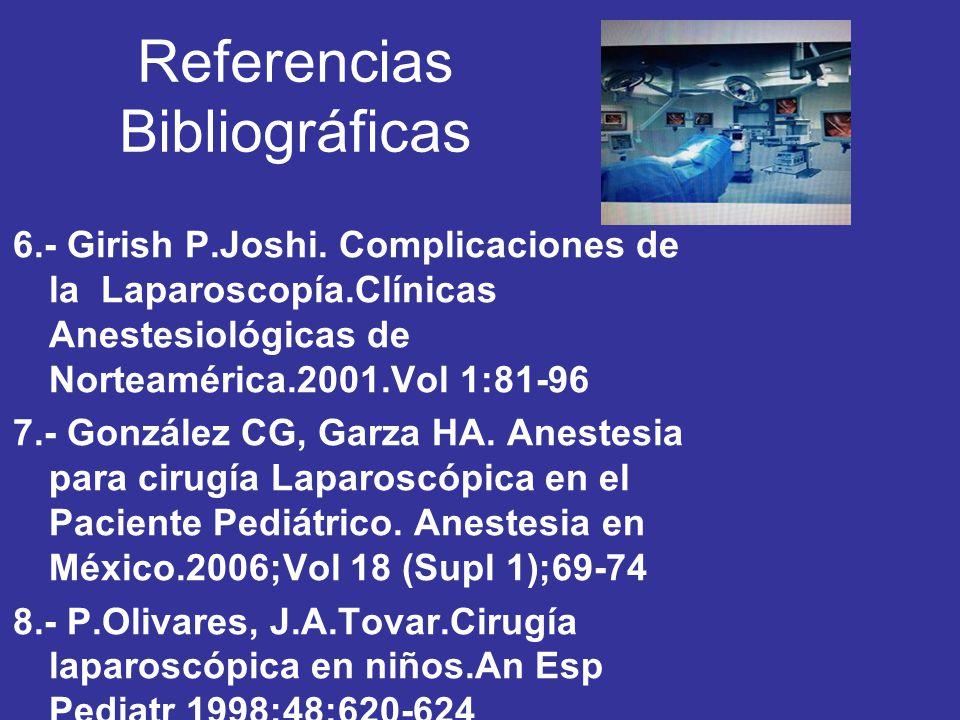 Referencias Bibliográficas 6.- Girish P.Joshi. Complicaciones de la Laparoscopía.Clínicas Anestesiológicas de Norteamérica.2001.Vol 1:81-96 7.- Gonzál