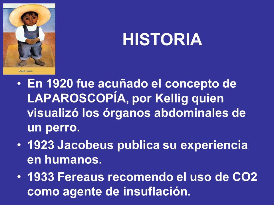 HISTORIA En 1920 fue acuñado el concepto de LAPAROSCOPÍA, por Kellig quien visualizó los órganos abdominales de un perro. 1923 Jacobeus publica su exp