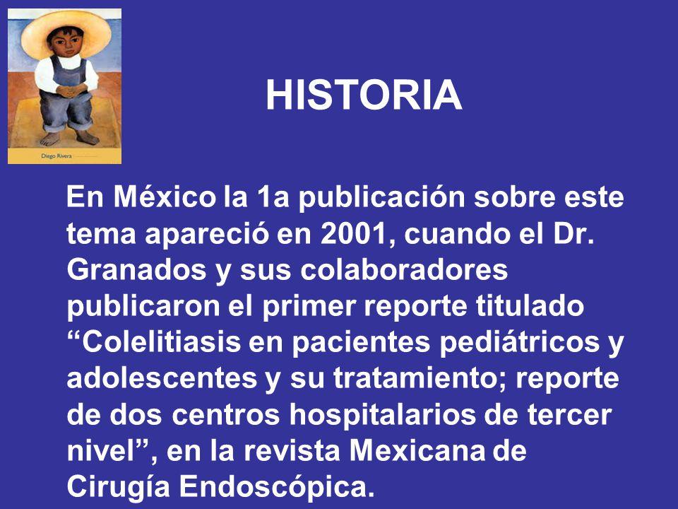 HISTORIA En México la 1a publicación sobre este tema apareció en 2001, cuando el Dr. Granados y sus colaboradores publicaron el primer reporte titulad