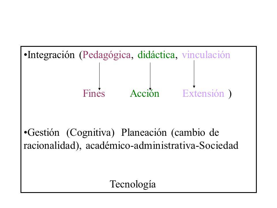 Integración (Pedagógica, didáctica, vinculación Fines Acción Extensión ) Gestión (Cognitiva) Planeación (cambio de racionalidad), académico-administra