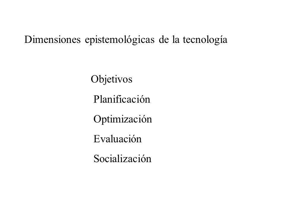 Dimensiones epistemológicas de la tecnología Objetivos Planificación Optimización Evaluación Socialización