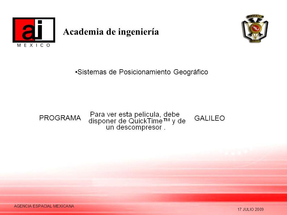 Academia de ingeniería 17 JULIO 2009 AGENCIA ESPACIAL MEXICANA Sistemas de Posicionamiento Geográfico PROGRAMA GALILEO