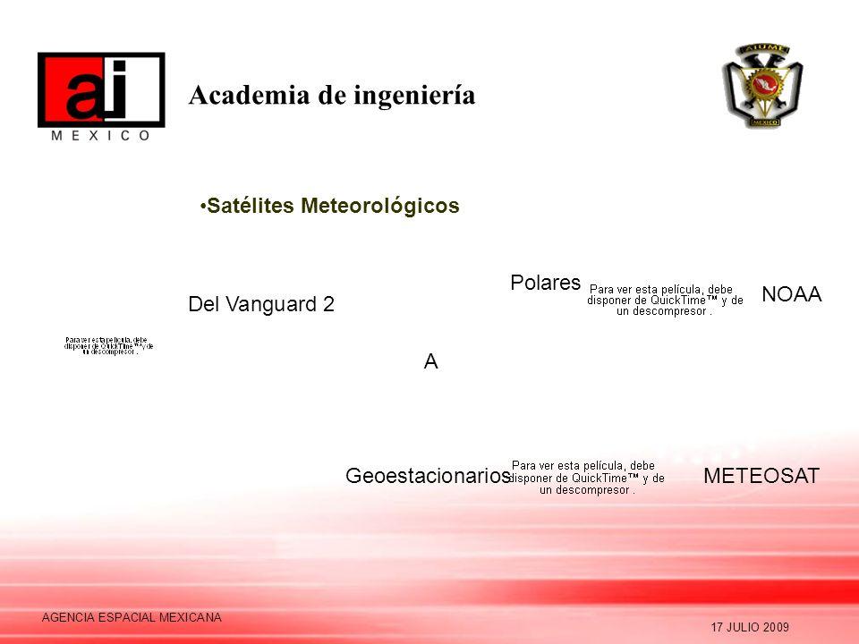 Academia de ingeniería 17 JULIO 2009 AGENCIA ESPACIAL MEXICANA Satélites Meteorológicos Del Vanguard 2 NOAA METEOSAT A Geoestacionarios Polares