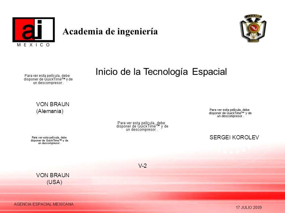 Academia de ingeniería 17 JULIO 2009 AGENCIA ESPACIAL MEXICANA Inicio de la Tecnología Espacial V-2 VON BRAUN (Alemania) VON BRAUN (USA) SERGEI KOROLE