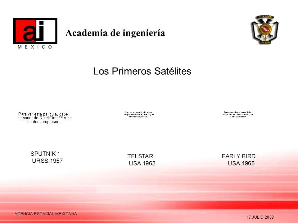 Academia de ingeniería 17 JULIO 2009 AGENCIA ESPACIAL MEXICANA Los Primeros Satélites SPUTNIK 1 URSS,1957 TELSTAR USA,1962 EARLY BIRD USA,1965