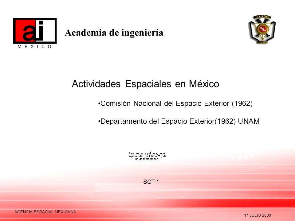 Academia de ingeniería 17 JULIO 2009 AGENCIA ESPACIAL MEXICANA Actividades Espaciales en México Comisión Nacional del Espacio Exterior (1962) Departam