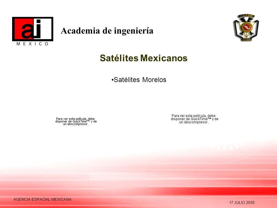 Academia de ingeniería 17 JULIO 2009 AGENCIA ESPACIAL MEXICANA Satélites Mexicanos Satélites Morelos