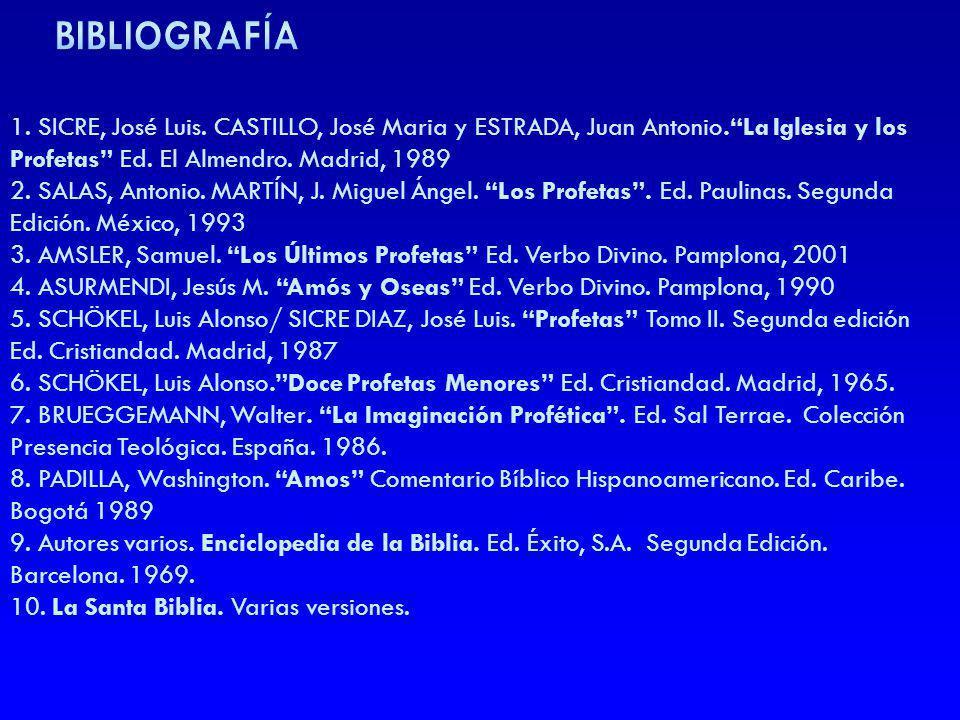 1. SICRE, José Luis. CASTILLO, José Maria y ESTRADA, Juan Antonio.La Iglesia y los Profetas Ed. El Almendro. Madrid, 1989 2. SALAS, Antonio. MARTÍN, J