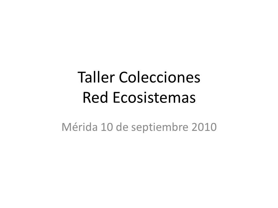 Taller Colecciones Red Ecosistemas Mérida 10 de septiembre 2010