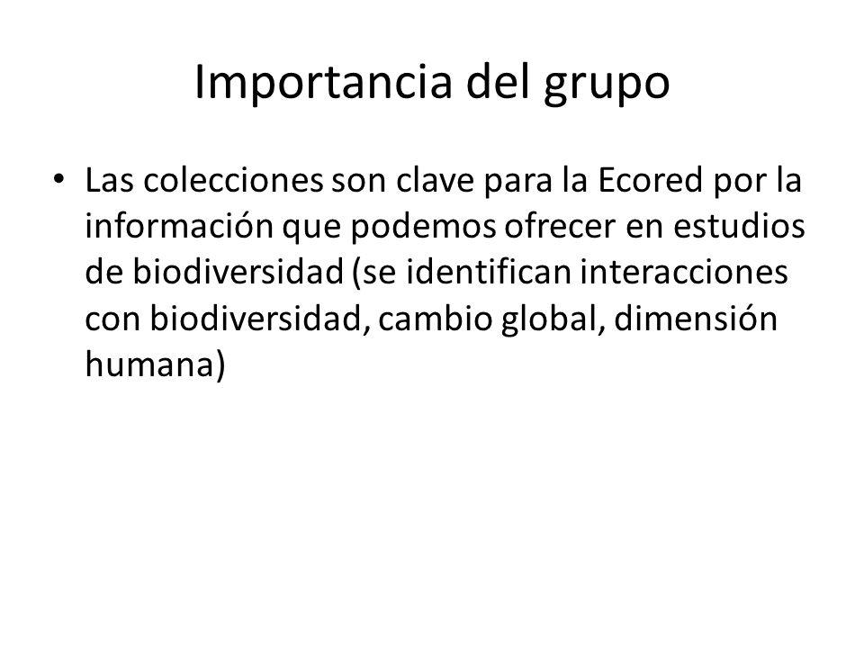 Importancia del grupo Las colecciones son clave para la Ecored por la información que podemos ofrecer en estudios de biodiversidad (se identifican interacciones con biodiversidad, cambio global, dimensión humana)