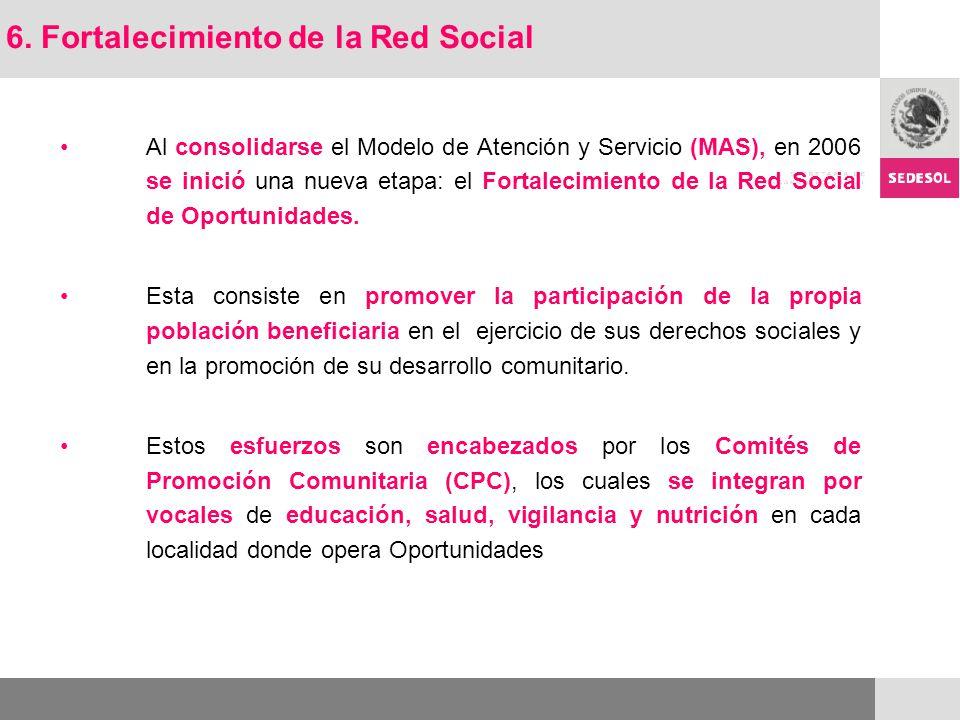 Al consolidarse el Modelo de Atención y Servicio (MAS), en 2006 se inició una nueva etapa: el Fortalecimiento de la Red Social de Oportunidades. Esta