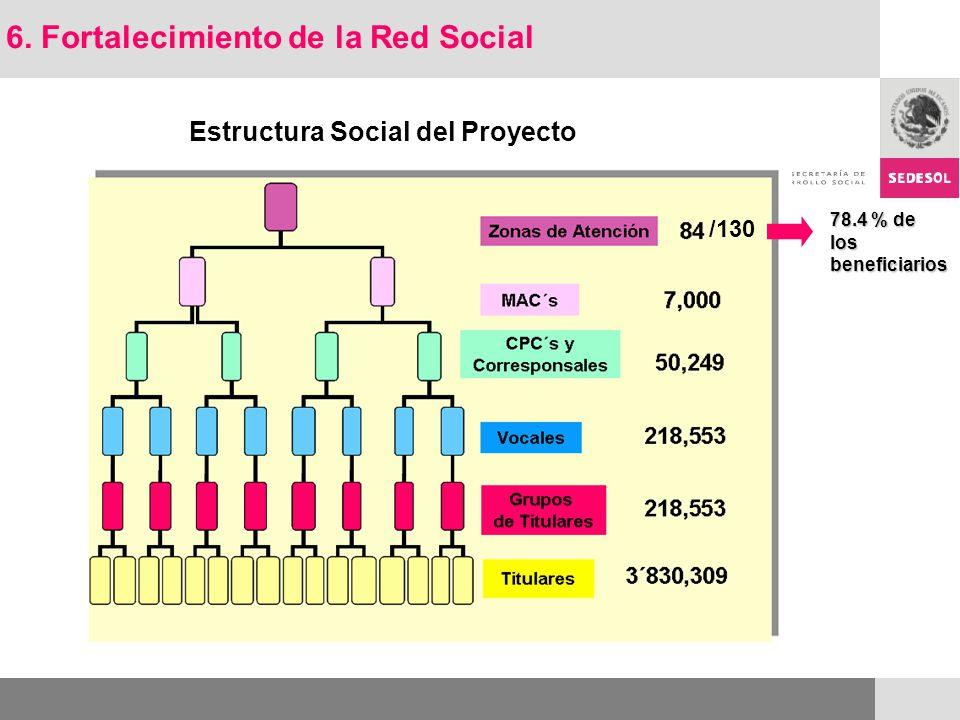 Estructura Social del Proyecto 6. Fortalecimiento de la Red Social /130 78.4 % de los beneficiarios