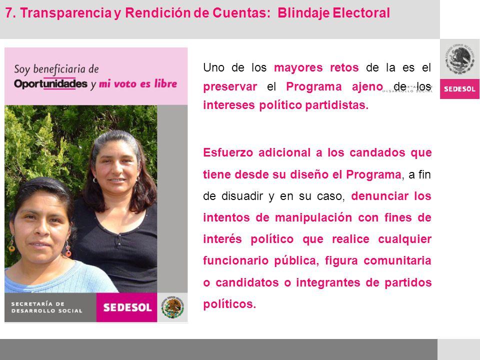 7. Transparencia y Rendición de Cuentas: Blindaje Electoral Uno de los mayores retos de la es el preservar el Programa ajeno de los intereses político