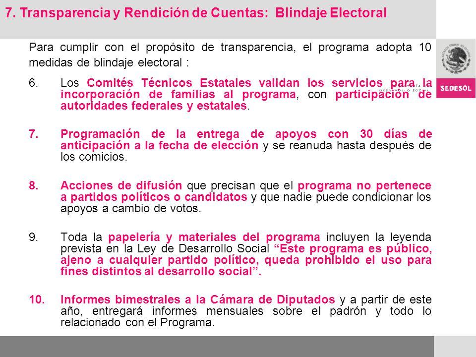 Para cumplir con el propósito de transparencia, el programa adopta 10 medidas de blindaje electoral : 6.Los Comités Técnicos Estatales validan los ser