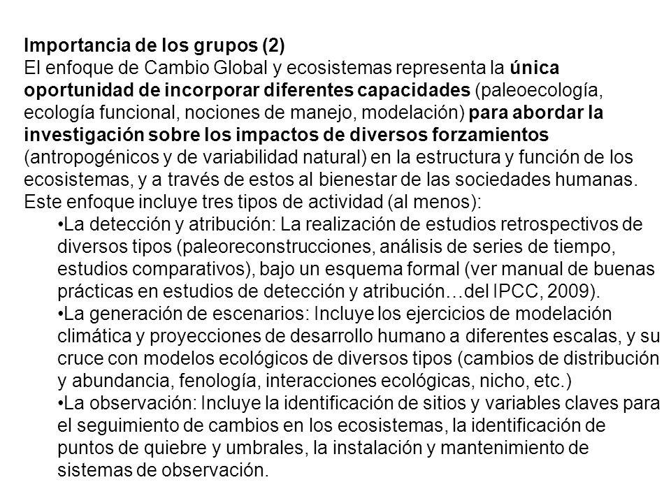 Importancia de los grupos (2) El enfoque de Cambio Global y ecosistemas representa la única oportunidad de incorporar diferentes capacidades (paleoecología, ecología funcional, nociones de manejo, modelación) para abordar la investigación sobre los impactos de diversos forzamientos (antropogénicos y de variabilidad natural) en la estructura y función de los ecosistemas, y a través de estos al bienestar de las sociedades humanas.