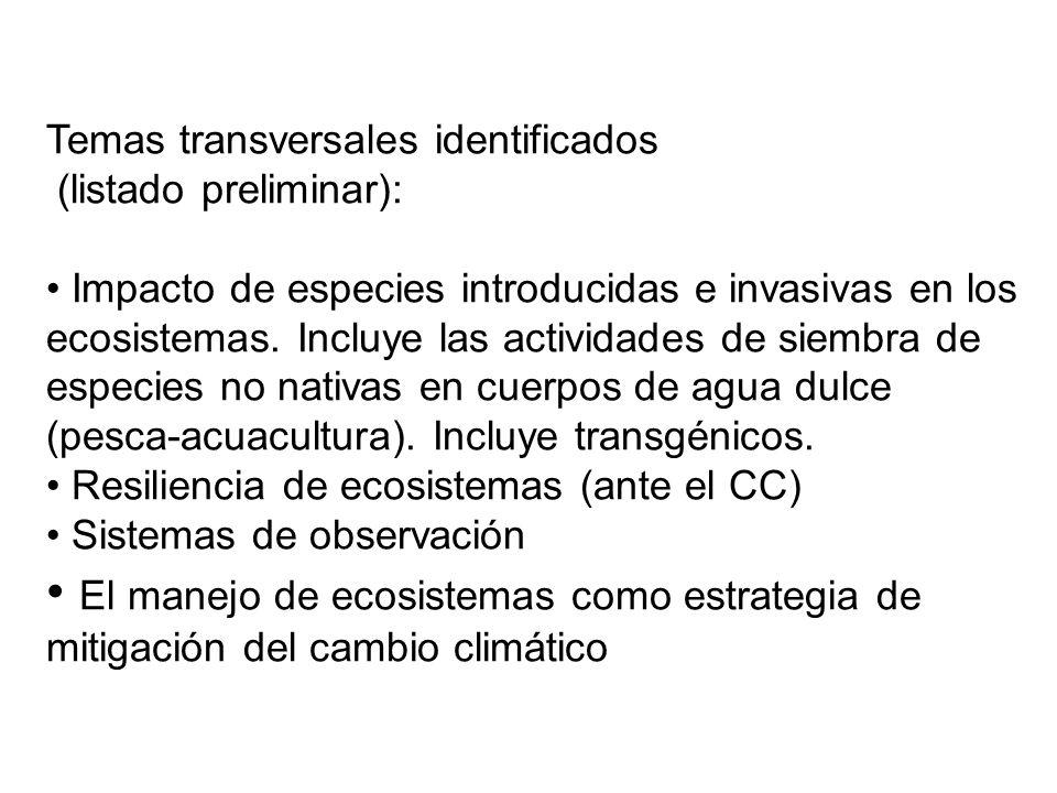 Temas transversales identificados (listado preliminar): Impacto de especies introducidas e invasivas en los ecosistemas.