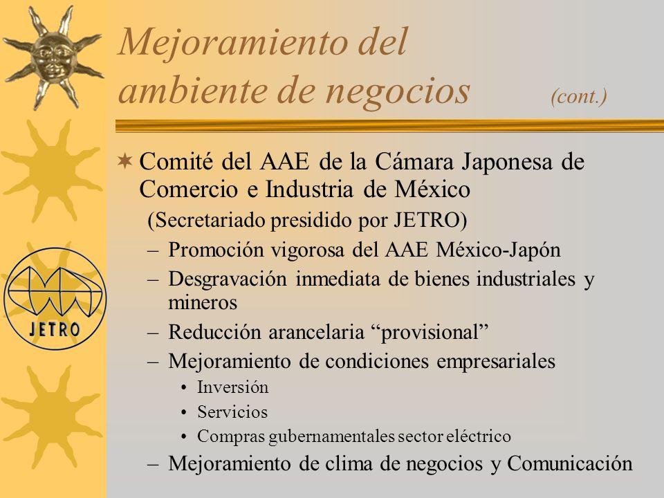 Comité del AAE de la Cámara Japonesa de Comercio e Industria de México (Secretariado presidido por JETRO) –Promoción vigorosa del AAE México-Japón –De