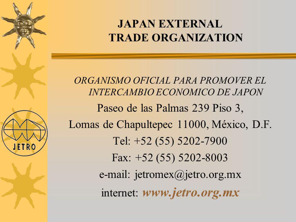 JAPAN EXTERNAL TRADE ORGANIZATION ORGANISMO OFICIAL PARA PROMOVER EL INTERCAMBIO ECONOMICO DE JAPON Paseo de las Palmas 239 Piso 3, Lomas de Chapultep