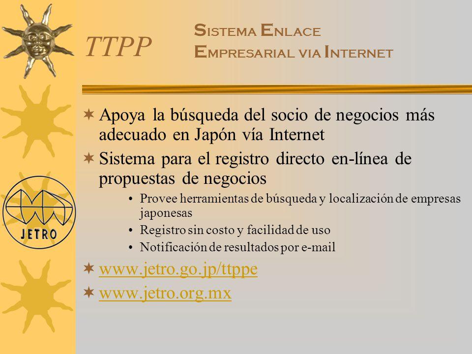 TTPP Apoya la búsqueda del socio de negocios más adecuado en Japón vía Internet Sistema para el registro directo en-línea de propuestas de negocios Pr
