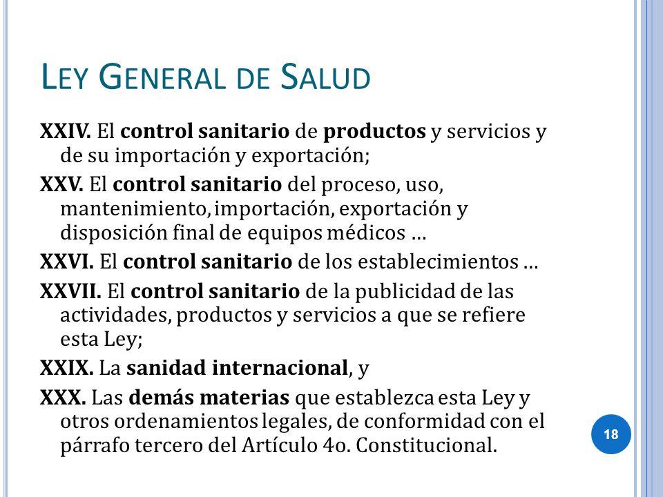 L EY G ENERAL DE S ALUD XXIV. El control sanitario de productos y servicios y de su importación y exportación; XXV. El control sanitario del proceso,