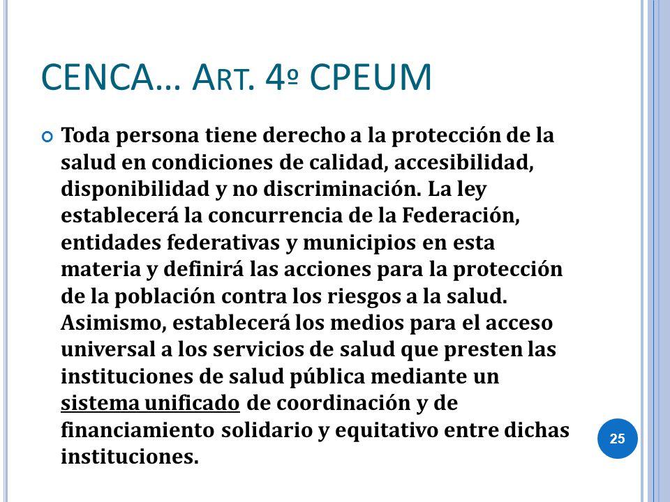 CENCA… A RT. 4 º CPEUM Toda persona tiene derecho a la protección de la salud en condiciones de calidad, accesibilidad, disponibilidad y no discrimina